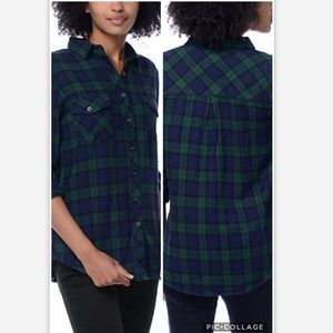 Thread and Supply Green and Navy Plaid Shirt